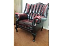 Leather chesterfield Queen Anne chair