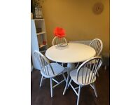 A white wooden table and 4 wood chairs shabby chic style like new 105cm