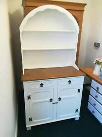 Oak Dutch dresser, painted farrow and ball eggshell white with stripped top section