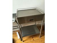 Vintage retro stainless steel industrial kitchen trolley table