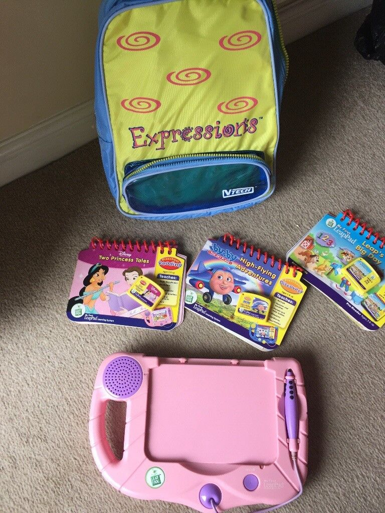 Pink leapfrog leapad with 3 books and bag