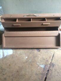 Vintage wood box carry handle tools craft large