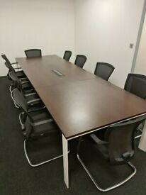 FREE SAME-DAY DELIVERY - Walnut Boardroom/Conference Table With 10 Bestuhl E1 Mesh Meeting Chairs