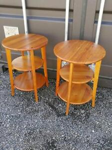 Oakville 2 ROUND PINE IKEA Tables with shelves  refinished solid wood wooden Golden pine