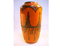 """Collectable Vintage West German Ceramic Lava Vase 517-38 15"""" Tall VGC (WH_1372)"""