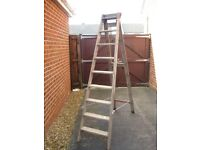 strong wooden 8 tread stepladder good condition