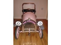 Childrens Pink Metal pedal car - like a pink Brum - age 2-5 years old