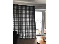 Grey Checked Curtains
