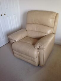 Luxury Soft Leather Power Recliner in Neutral Colour