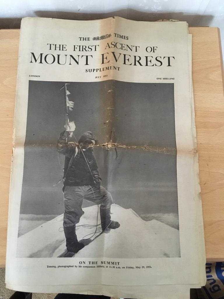 ***V. COLLECTIBLE ITEM, SUPPLEMENT FROM THE TIMES 1953, 1ST ACCENT OF MOUNT EVEREST/CLIMBING***