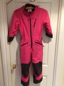 Skiing all in 1 Helly Hansen pink 6 years old + mitts
