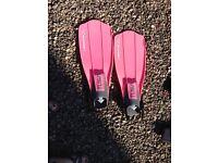 Pink ladies scuba diving fins