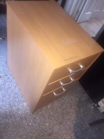 OFFICE DRAWERS WOODEN AND SILVER GOOD CONDITION COMES WITH KEY