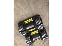 2x 20kg adjustable dumbbells