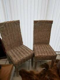 Pair of high back wicker grey wash chairs