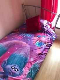 **Single bed, mattress, duvet and pillow**