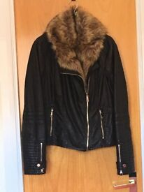 Ladies size 14 brown leather-effect jacket, removable collar