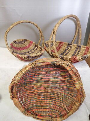 Vintage Woven Wicker Baskets Lot of 3 incl Large Harvest Basket Country Decor