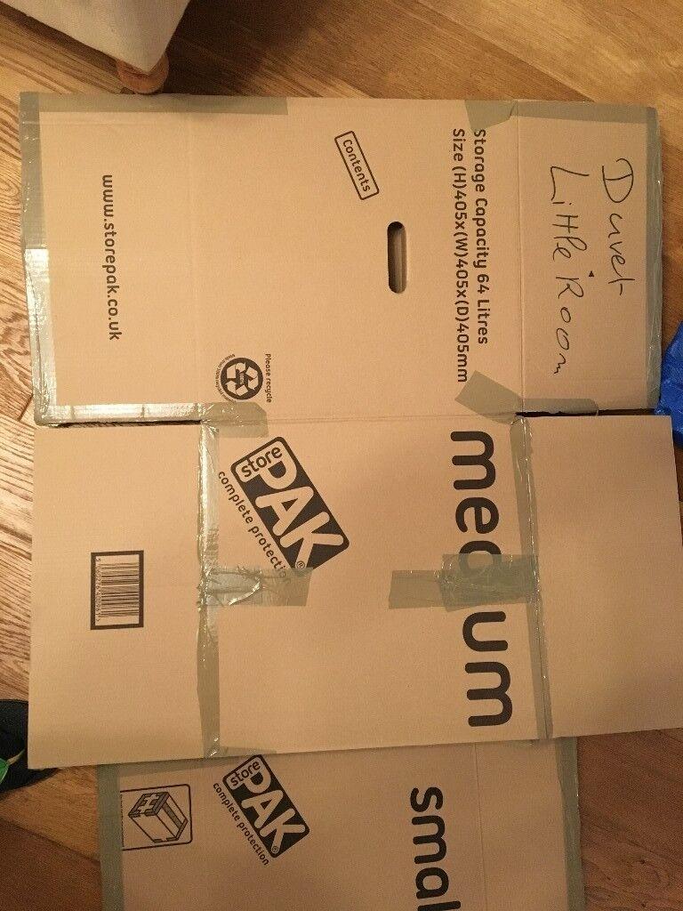 Moving cardboard boxes - large (2x116L, 6x107L) and medium (7x64L)