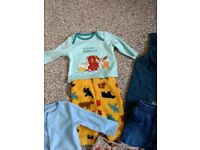Baby boy bundle clothes pyjamas joggers sleepsuits bodysuits 0-3 months