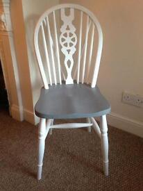 Shabby chic vintage upcycled painted white grey chair dining £25