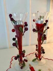 Two Beautiful Fluted Glass Decorated Candle Holders.