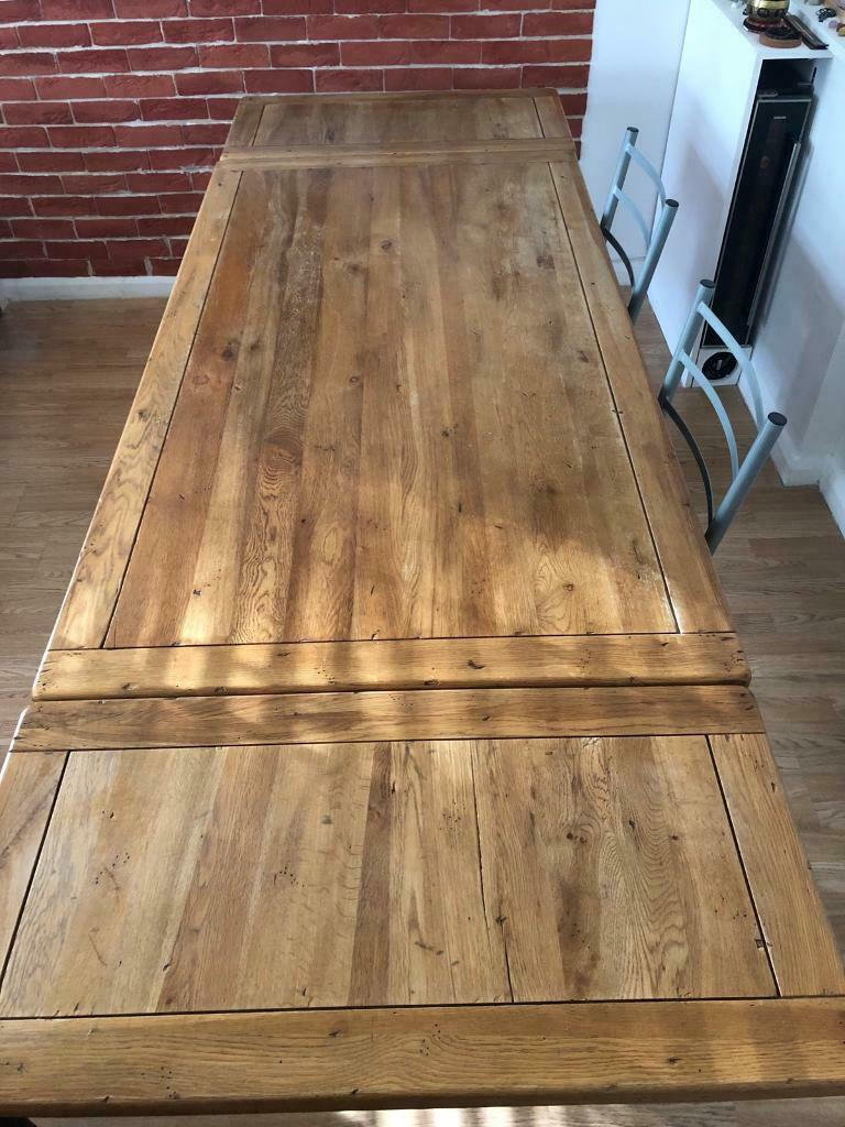 6-10 seater extending solid oak dining table + 4 chairs ...