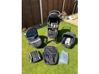 3 in 1 Hauck travel system pushchair, pram, car seat with Isofix base