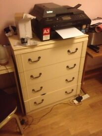 beige chest of draws, bedside chest & beauty station (prices negotiable)