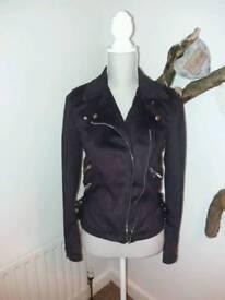 Warehouse plum soft touch biker jacket