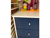 Children's bedside set of drawers in blue