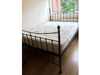 KING SIZE METAL BED FRAME WITH VERY GOOD QUALITY MATTRESS IN VERY GOOD USED CONDITION FREE DELIVERY