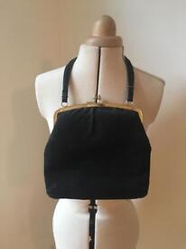 Vintage black moleskin style fabric bag.
