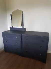 LOCAL DELIVERY Matching pair of vintage 1940's chest of drawers x 2 rustic navy blue shabby chic