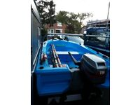 Boat, trailer and outboatd. Fast fisher rescue boat.