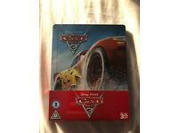 A brand new copy of Cars 3 on Blu-ray. It is the Steelbook collectors edition and is still sealed!!