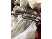 Grey/white stars bedding set for swinging crib unused but no packaging.