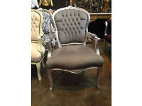 Grey velvet french louis armchair with crystal studs