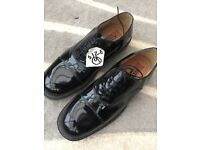 Black patent leather dress shoes