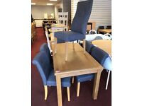 NOT EXTENDABLE Table and 6 Fabric Chairs (4 scrollback and 2 normal)