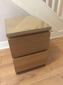 OAK VENEER BED SIDE TABLE WITH GLASS PROTECTOR - £20