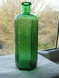 Old Green Ribbed Poison Bottle. 8 inches high. Excellent clean bottle
