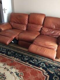 3 seater recliner + 2 seater recliner in Tan