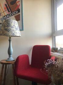 Chair, retro, clean lines, wheels