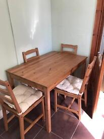 Farm House Table and Four Chairs