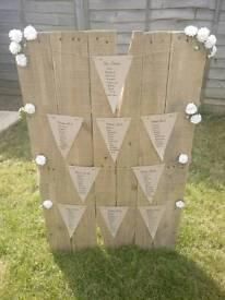 Wedding table plan board