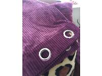 Velvet Ribbed Curtains x 2 pairs plus matching Cushion Covers x 3