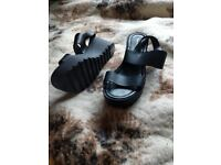 Black strap sandals size 7 £10.00