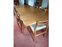 Dining room furniture - Extendable teak dining table with 6 chairs. Drinks cabinet and bureau.