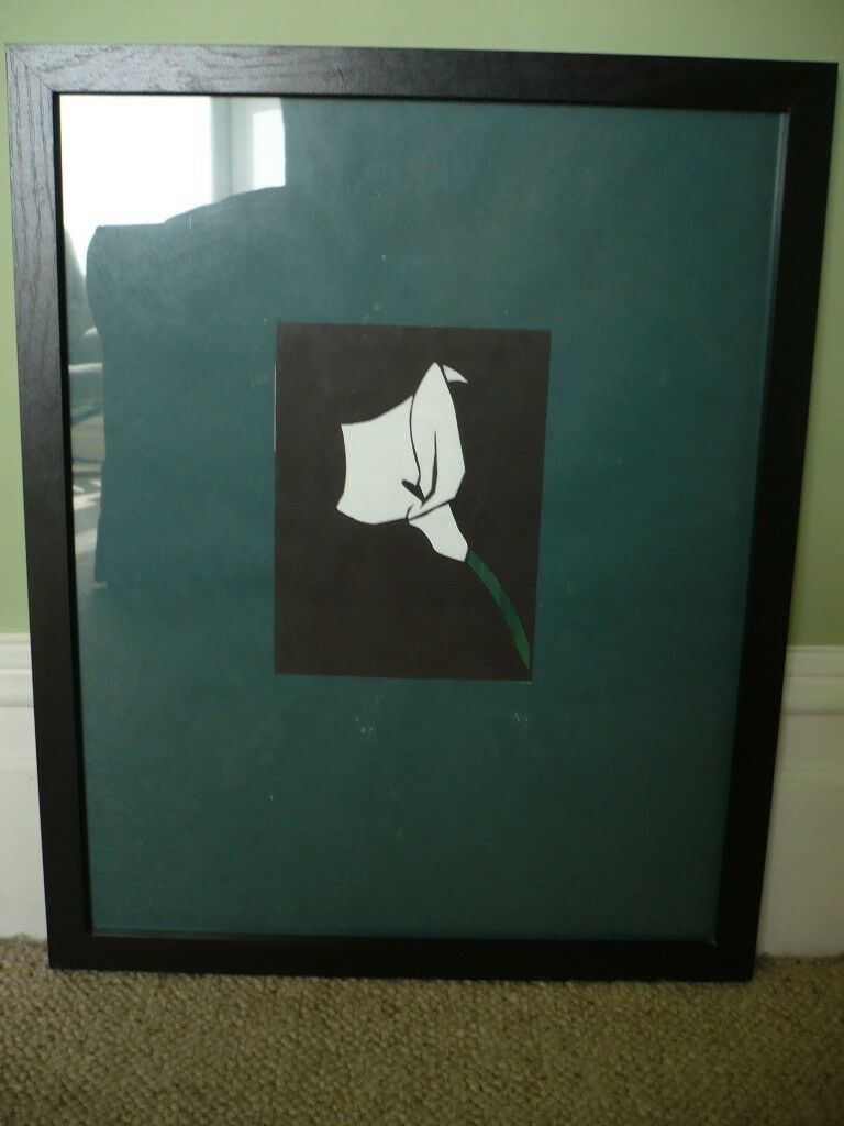 Decoupage picture of lily, striking black and white in black frame ...